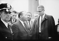 Martin Luther King (L) and Malcolm X (R), March 16, 1964