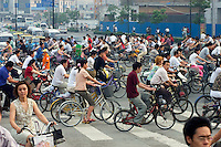 Bicycles are still a main form of transportation as seen here during rush hour - Chengdu, China in Sichuan Province