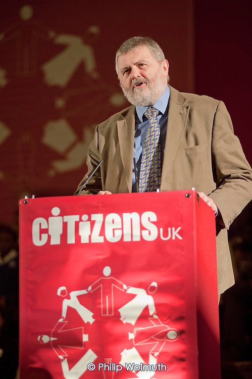 """Sir Steve Bullock, Mayor of Lewisham, addresses a """"Day for Civil Society"""" organized by Citizens UK / London Citizens to celebrate 10 years of the Living Wage Campaign, launch a National Living Wage Foundation and call for the living wage to be adopted nationally.  Central Hall, Westminster."""