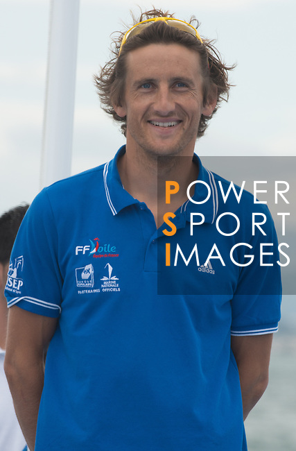 Julien Bontemps  from France new World Champion in class RSX  celebrating during the ISAF Sailing World Championships 2014 at the Real Club Maritimo of Santander on September 19, 2014 in Santander, Spain. Photo by Nacho Cubero / Power Sport Images