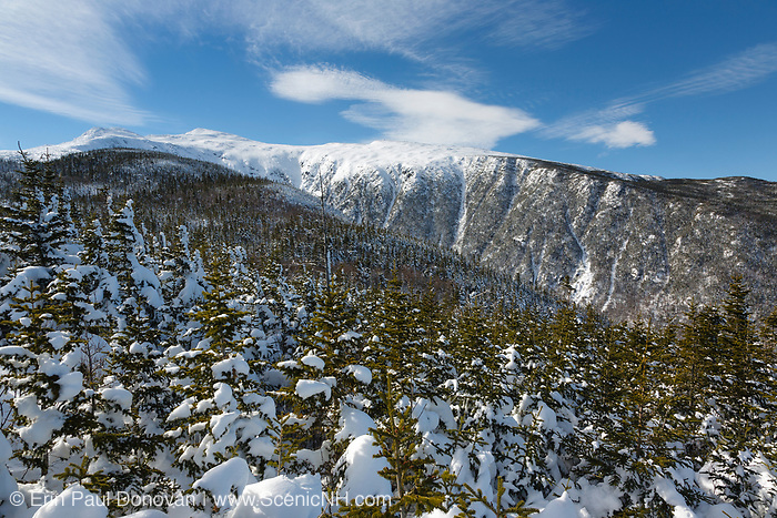 King Ravine in the Presidential Range from a high point off of the Air Line Trail in the White Mountains, New Hampshire during the winter months.