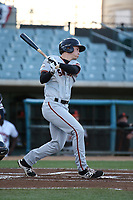 Bryan Reynolds (9) of the San Jose Giants bats against the Lancaster JetHawks at The Hanger on April 10, 2017 in Lancaster, California. Lancaster defeated San Jose 11-7. (Larry Goren/Four Seam Images)