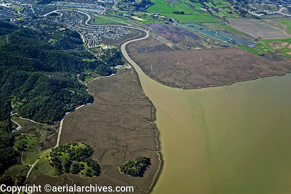 aerial photograph of China Camp State Park, San Rafael, Marin county, California
