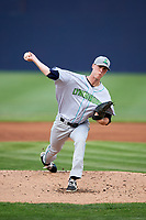 Lynchburg Hillcats starting pitcher Micah Miniard (31) delivers a pitch during the second game of a doubleheader against the Frederick Keys on June 12, 2018 at Nymeo Field at Harry Grove Stadium in Frederick, Maryland.  Frederick defeated Lynchburg 8-1.  (Mike Janes/Four Seam Images)