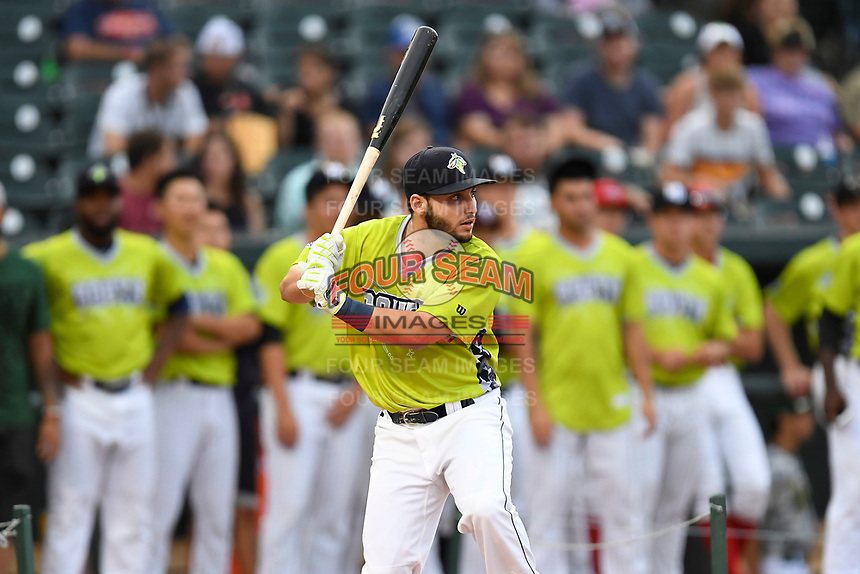 Michael Paez of the Columbia Fireflies participates in the Home Run Derby as part of of the South Atlantic League All-Star Game festivities on Monday, June 19, 2017, at Spirit Communications Park in Columbia, South Carolina. (Tom Priddy/Four Seam Images)