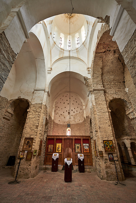 Picture & images of the interior of the Church of the Transfiguration,  Ikalto monastery was founded by Saint Zenon, one of the 13 Syrian Fathers, in the late 6th century. Near Telavi, Kakheti, Eastern Georgia (Country).<br /> <br /> The Ikalto Monastery is famous for the Academy of Ikalto founded in the reign of King David the Builder by Arsen Ikaltoeli. The Academy of Ikalto trained its students in classical diciplins of rhetoric, astronomy, philosophy, geography, geometry as well as learning the skills of chantings, pottery and poetry. In the 12th century the Georgian poet Shota Rustaveli studied here.