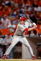 3 September 2005: Chase Utley, infielder with the Philadelphia Phillies, at bat during a game against the Washington Nationals. The Nationals defeated the Phillies 5-4 at RFK Stadium in Washington, DC. <br />