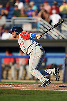 Brooklyn Cyclones catcher Adrian Abreu (2) at bat during a game against the Batavia Muckdogs on August 9, 2014 at Dwyer Stadium in Batavia, New York.  Batavia defeated Brooklyn 4-2.  (Mike Janes/Four Seam Images)