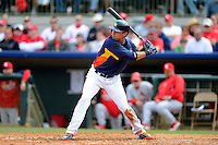Houston Astros outfielder Rick Ankiel #46 at bat during a Spring Training game against the St. Louis Cardinals at Osceola County Stadium on March 1, 2013 in Kissimmee, Florida.  The game ended in a tie at 8-8.  (Mike Janes/Four Seam Images)