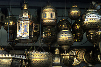 Artwork of Moroccan brass lanterns in Casablanca Morocco Africa