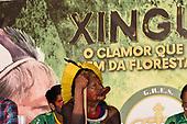 Rio de Janeiro, Brazil. Imperatriz Leopoldinense samba school; preparations for carnival. Chief Raoni Metuktire leans on his borduna war club below a Xingu poster at the pre-carnival press conference.