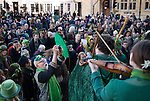 Oxford Uk. Wednesday 1st May 2013. A green man and revellers celebrate May Day on the steps of the Sheldonian Theatre.