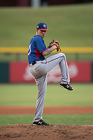 AZL Rangers starting pitcher Joe Palumbo (21) delivers a pitch in a rehab start during an Arizona League game against the AZL Cubs 2 at Sloan Park on July 7, 2018 in Mesa, Arizona. AZL Rangers defeated AZL Cubs 2 11-2. (Zachary Lucy/Four Seam Images)