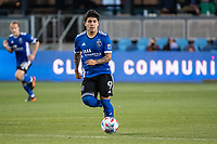 SAN JOSE, CA - MAY 12: Javier Eduardo Lopez #9 of the San Jose Earthquakes looks up to pass the ball during a game between San Jose Earthquakes and Seattle Sounders FC at PayPal Park on May 12, 2021 in San Jose, California.