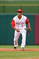 Arkansas Travelers shortstop Maikol Gonzalez (5) during a game against the San Antonio Missions on May 24, 2014 at Dickey-Stephens Park in Little Rock, Arkansas.  Arkansas defeated San Antonio 4-2.  (Mike Janes/Four Seam Images)