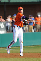 Clemson Tigers Third Baseman John Hinson during the opener of the 2011 season against the Eastern Michigan Eagles at Doug Kingsmore Stadium, Clemson, SC. Clemson won 14-3. Photo By Tony Farlow/Four Seam Images.