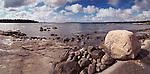 Daytime panoramic scenery of a rocky shore of Georgian Bay, Muskoka, Ontario, Canada