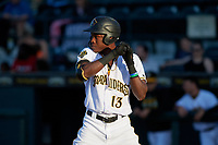 Bradenton Marauders Oneil Cruz (13) during a Florida State League game against the Fort Myers Miracle on April 23, 2019 at LECOM Park in Bradenton, Florida.  Fort Myers defeated Bradenton 2-1.  (Mike Janes/Four Seam Images)