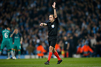 Referee Cuneyt Cakir awards Tottenham Hotspur with a free kick after VAR overturned a Manchester City goal in stoppage time during the UEFA Champions League Quarter Final second leg match between Manchester City and Tottenham Hotspur at the Etihad Stadium on April 17th 2019 in Manchester, England. (Photo by Daniel Chesterton/phcimages.com)<br /> Foto PHC/Insidefoto <br /> ITALY ONLY