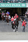 Flat Out (no. 1), ridden by Alex Solis and trained by Charles Scooter Dickey, wins the  93rd running of the grade 1 Jockey Club Gold Cup Invitational Stakes for three year olds and upward on October 01, 2011 at Belmont Park in Elmont, New York.  (Bob Mayberger/Eclipse Sportswire)