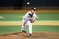 Wake Forest Demon Deacons relief pitcher Rayne Supple (30) delivers a pitch to the plate against the Georgetown Hoyas at David F. Couch Ballpark on February 19, 2016 in Winston-Salem, North Carolina.  The Demon Deacons defeated the Hoyas 3-1.  (Brian Westerholt/Four Seam Images)