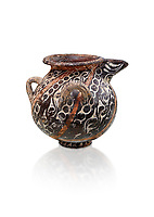 Minoan Kamares Ware spouted  jug with polychrome decorations, Phaistos 1800-1650 BC; Heraklion Archaeological  Museum, white background.<br /> <br /> This style of pottery is named afetr Kamares cave where this style of pottery was first found