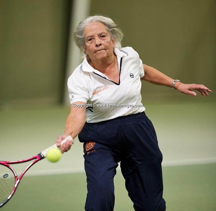March 5, 2015, Netherlands, Hilversum, Tulip Tennis Center, NOVK, Final Lady's 80+ , runner up  Wies Schuitemaker (NED)<br /> Photo: Tennisimages/Henk Koster