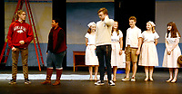 Marc Hayot/Herald Leader. Nathan Blair (left) confronts Rachel Mann, Sierra Horner, Clayton Hoskins, Kate Kelley, Reece Edwards, Lindsey Bolstad, and Emma Bryant in a scene from The Sound of Music.
