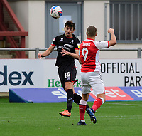 Lincoln City's Joe Walsh clears under pressure from Fleetwood Town's Ched Evans<br /> <br /> Photographer Chris Vaughan/CameraSport<br /> <br /> The EFL Sky Bet League One - Fleetwood Town v Lincoln City - Saturday 17th October 2020 - Highbury Stadium - Fleetwood<br /> <br /> World Copyright © 2020 CameraSport. All rights reserved. 43 Linden Ave. Countesthorpe. Leicester. England. LE8 5PG - Tel: +44 (0) 116 277 4147 - admin@camerasport.com - www.camerasport.com