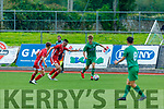 Robert Vasiu of Kerry in possession as he trie to get forward despite the attention from Barry McCarthy and Darragh Burke of Cork City in the SSE Airtricity U17 League