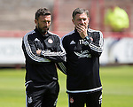 Aberdeen v St Johnstone...28.06.15  Glebe Park, Brechin..Pre-Season Friendly<br /> Aberdeen manager Derek McInnes and assistant Tony Docherty<br /> Picture by Graeme Hart.<br /> Copyright Perthshire Picture Agency<br /> Tel: 01738 623350  Mobile: 07990 594431