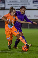 Anderlecht forward Mariam Toloba (19) and Gent's forward Jasmien Mathys (12) pictured during a female soccer game between RSC Anderlecht Dames and AA Gent Ladies on the seventh matchday of the 2020 - 2021 season of Belgian Womens Super League , friday 13 th of November 2020  in Overijse , Belgium . PHOTO SPORTPIX.BE | SPP | STIJN AUDOOREN