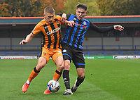 Hull City's Greg Docherty battles with Rochdale's Aaron Morley<br /> <br /> Photographer Dave Howarth/CameraSport<br /> <br /> The EFL Sky Bet League One - Rochdale v Hull City - Saturday 17th October 2020 - Spotland Stadium - Rochdale<br /> <br /> World Copyright © 2020 CameraSport. All rights reserved. 43 Linden Ave. Countesthorpe. Leicester. England. LE8 5PG - Tel: +44 (0) 116 277 4147 - admin@camerasport.com - www.camerasport.com