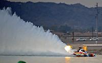 Nov. 22, 2008; Chandler, AZ, USA; IHBA top fuel hydro driver Jarrett Silvey during qualifying for the Napa Auto Parts World Finals at Firebird Lake. Mandatory Credit: Mark J. Rebilas-