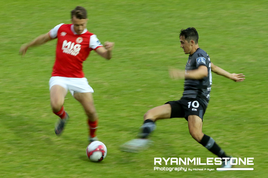 Jamie McGrath of Dundalk in action against Simon Madden of /pats during the SSE Airtricity League Premier Division game between St Patrick's Athletic and Dundalk on Friday 5th July 2018 at Richmond Park, Dublin. Photo By Michael P Ryan