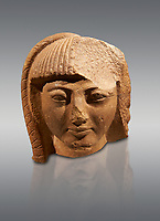 Ancient Egyptian quartz statue head of prince Khaemwase, son of Pharaoh  Rameses II. 19th Dynasty Ancient Egypt, 1260 BC . Neues Museum Berlin Cat No: AM 13460.