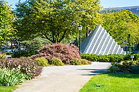 National Gallery of Art Sculpture Garden, Four-sided Pyramid by Sol Lewitt, Washington DC, USA.