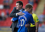 St Johnstone v Inverness Caledonian Thistle...05.10.13      SPFL<br /> A smile on the face of Tommy Wright as David Wotherspoon is subbed<br /> Picture by Graeme Hart.<br /> Copyright Perthshire Picture Agency<br /> Tel: 01738 623350  Mobile: 07990 594431