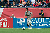 FOXBOROUGH, MA - JULY 25: Joel Waterman #16 of CF Montreal looks to pass during a game between CF Montreal and New England Revolution at Gillette Stadium on July 25, 2021 in Foxborough, Massachusetts.