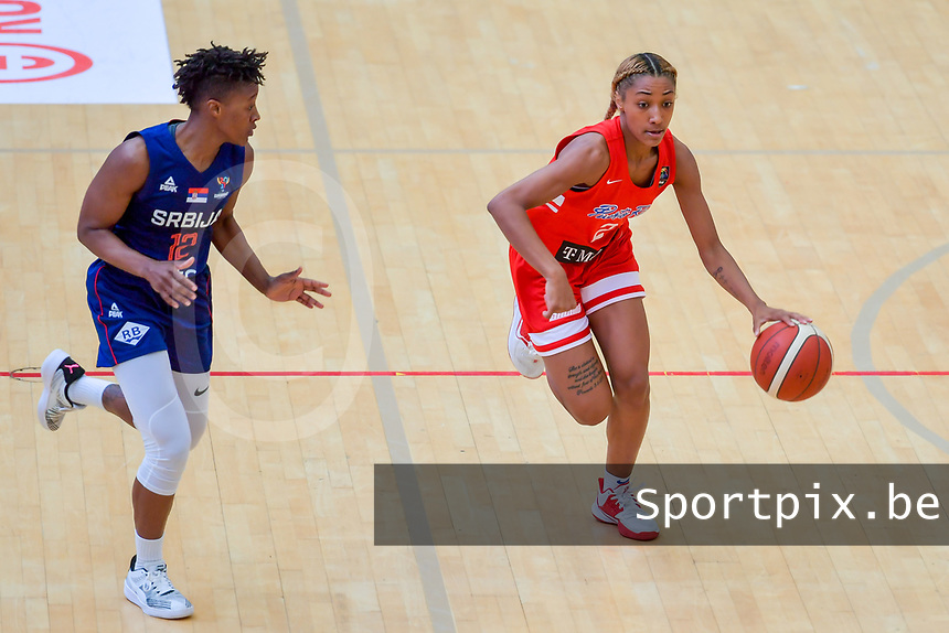 Alahna Smith (2) of Puerto Rico pictured during a basketball game between the national teams of Puerto Rico and Serbia on Sunday 30 th of May 2021 in Kortrijk , Belgium . PHOTO SPORTPIX.BE | SPP | STIJN AUDOOREN