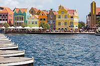 Willemstad, Curacao, Lesser Antilles.  Looking Over Pontoons of the Queen Emma Bridge toward Punda.