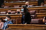 The president of Ciudadanos (Cs), Ines Arrimadas asks the Prime Minister, Pedro Sanchez, about the measures that the Government intends to adopt to prevent irregular entry into Spain through the Ceuta border. May 19, 2021. (ALTERPHOTOS/Ciudadanos/Pool)