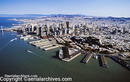 aerial photograph San Francisco waterfront piers skyline