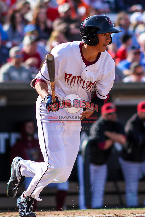 Wisconsin Timber Rattlers outfielder Ryan Aguilar (21) at bat during a Midwest League game against the Quad Cities River Bandits on April 8, 2017 at Fox Cities Stadium in Appleton, Wisconsin.  Wisconsin defeated Quad Cities 3-2. (Brad Krause/Four Seam Images)