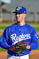 Ogden Raptors starting pitcher Austin French (35) warms up in the bullpen before the game against the Missoula Osprey in Pioneer League action at Lindquist Field on July 14, 2016 in Ogden, Utah. Ogden defeated Missoula 10-4. (Stephen Smith/Four Seam Images)