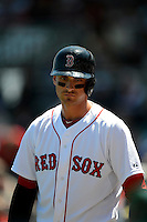 Boston Red Sox third baseman Will Middlebrooks #16 during a Spring Training game against the Miami Marlins at JetBlue Park on March 27, 2013 in Fort Myers, Florida.  Miami defeated Boston 5-1.  (Mike Janes/Four Seam Images)