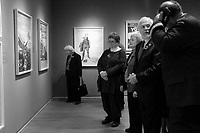 Montreal, CANADA - Nov 11 -  Pierre Duchesne, Lieutenant Governor of Quebec attend a exhibit on war propanganda posters, at Montreal's Musieum of Fine Arts on Remembrance Day, november 11, 2014 <br /> <br /> Photo :  Agence Quebec Presse - Pierre Roussel