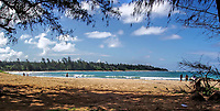 A panoramic view of Anahola Beach on the Hawaiian Island of Kauai.