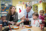 © Joel Goodman - 07973 332324 . 14/06/2016 . Burnley , UK . Alison McGovern MP and Ed Balls making cakes with children whilst campaigning for Remain , in the EU referendum , at Giant Leap Child Care and Learning House in Burnley . Photo credit : Joel Goodman
