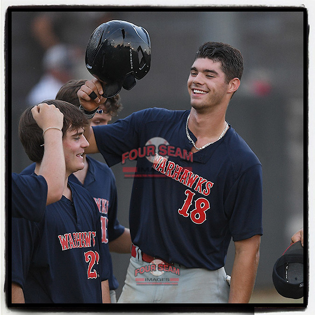 Riverside High grad Caden Grice (18), a Clemson commit, celebrates scoring a run for the Greer Warhawks in a South Carolina American League game against Easley on Tuesday, July 14, 2020, at Stevens Field in Greer, South Carolina. Greer won, 18-1. (Tom Priddy/Four Seam Images)